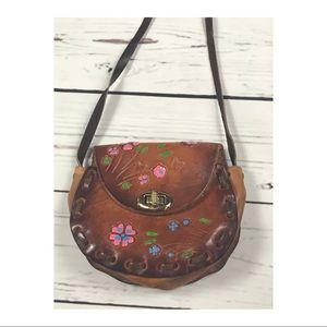 Vintage tooled leather purse 70's vintage leather